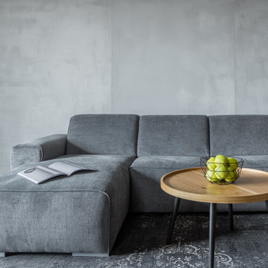 Grey Sectional Sofa with Scothguard Protection