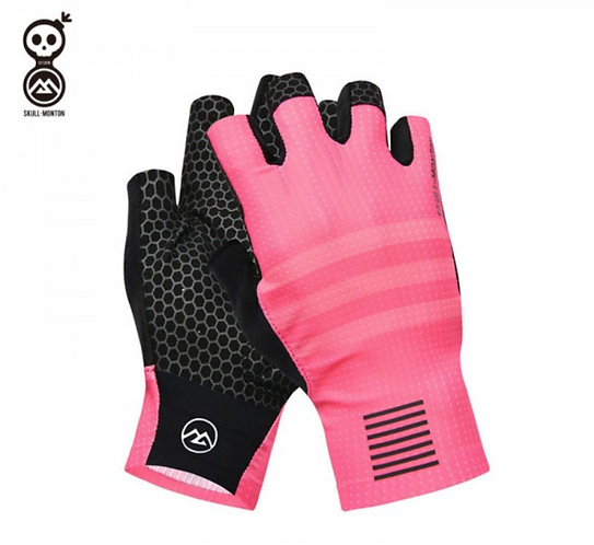 SKULL MONTON HALF FINGER CYCLING GLOVES TUESDAY PINK