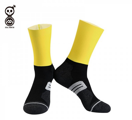 SKULL MONTON CYCLING SOCKS MONDAY YELLOW