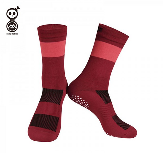 MEN SKULL MONTON RED CYCLING SOCKS KNIT SUNDAY