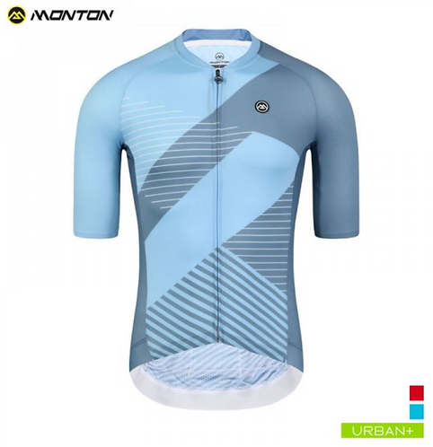 URBAN MENS SHORT SLEEVE CYCLING JERSEY SPATIAL GRAY BLUE