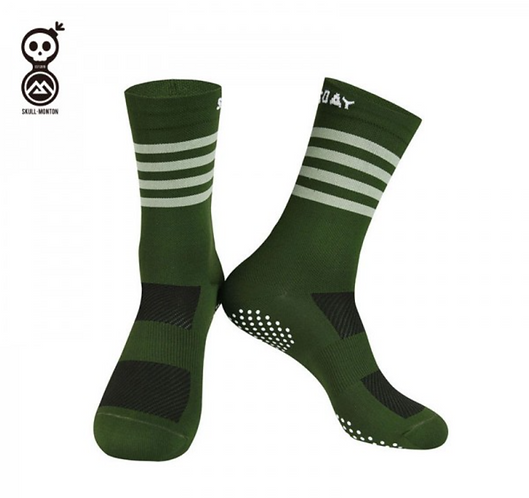 MEN SKULL MONTON GREEN CYCLING SOCKS KNIT WEDNESDAY