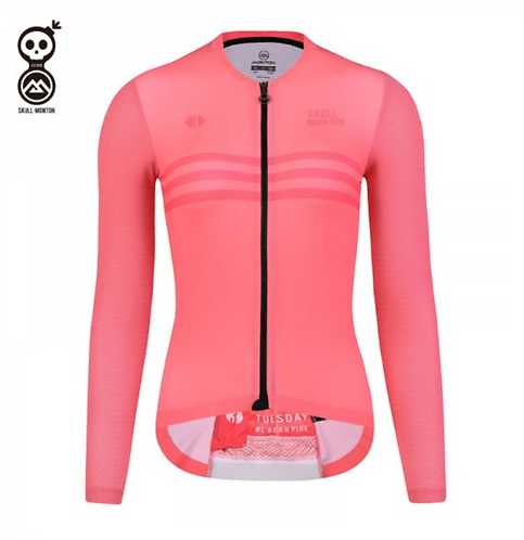 SKULL MONTON WOMENS LONG SLEEVE CYCLING JERSEY TUESDAY PINK