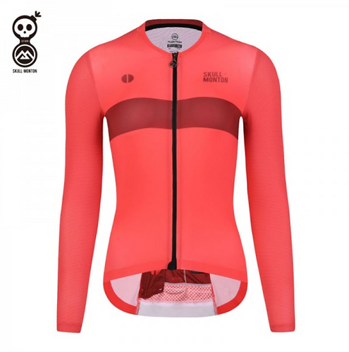SKULL MONTON WOMENS LONG SLEEVE CYCLING JERSEY SUNDAY RED