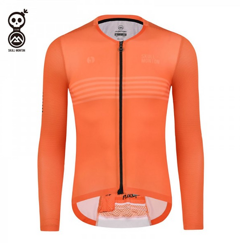 SKULL MONTON MENS LONG SLEEVE CYCLING JERSEY THURSDAY ORANGE