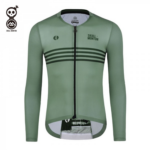 SKULL MONTON MENS LONG SLEEVE CYCLING JERSEY WEDNESDAY GREEN