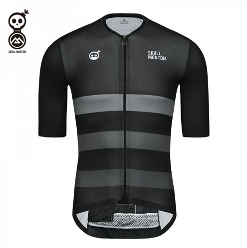 MENS SHORT SLEEVE CYCLING JERSEY SKULL MONTON MASK WEEKEND BLACK