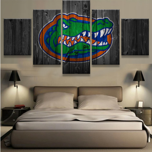 Florida Gator Wall Art florida gators college basketball team logo 5 piece canvas wall