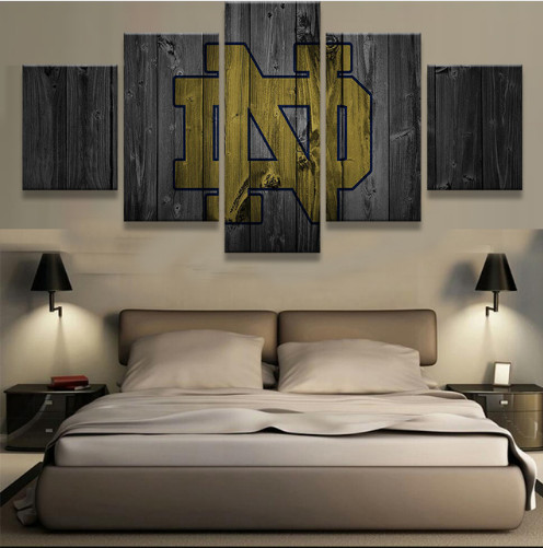 Notre Dame Wall Art notre dame fighting irish college basketball team logo 5 piece