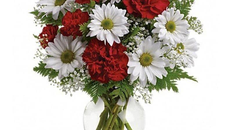 Carnation And Gerberas Vase