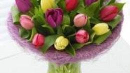 15 Mixed Tulips Vase