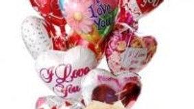 10 Heart Shaped Mylar Balloons And Box Of Chocolates