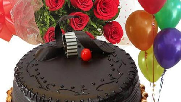 Red Roses, Chocolate Cake, FREE Balloons
