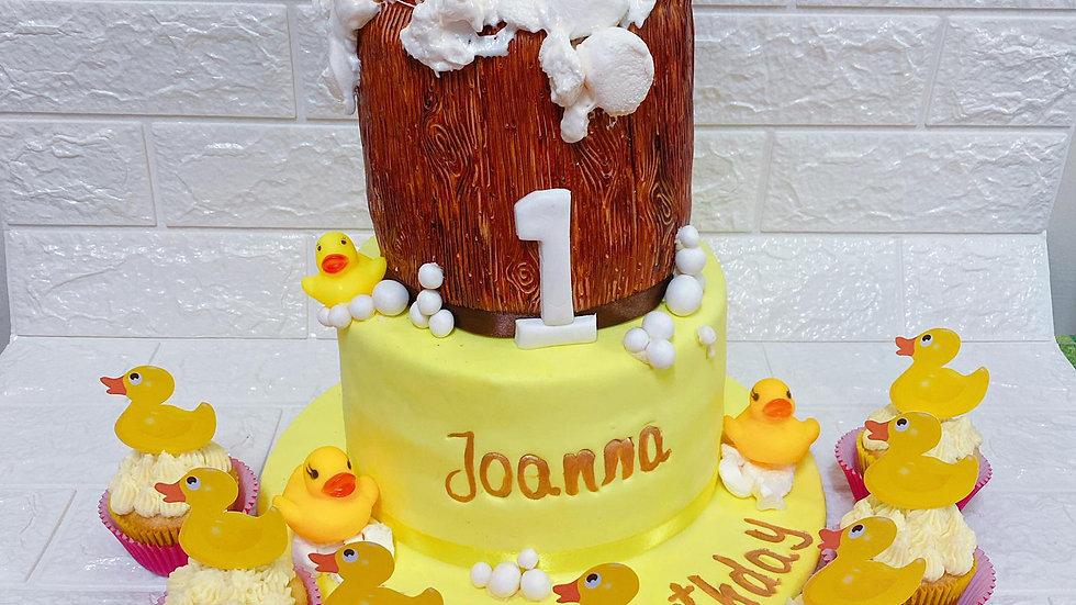 2 Tier Cake with 1 Dozen  Cupcake