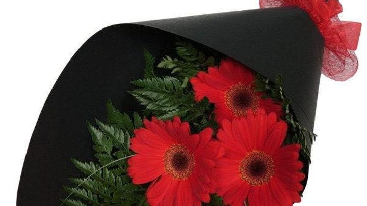 3 Red Gerberas In A Bouquet