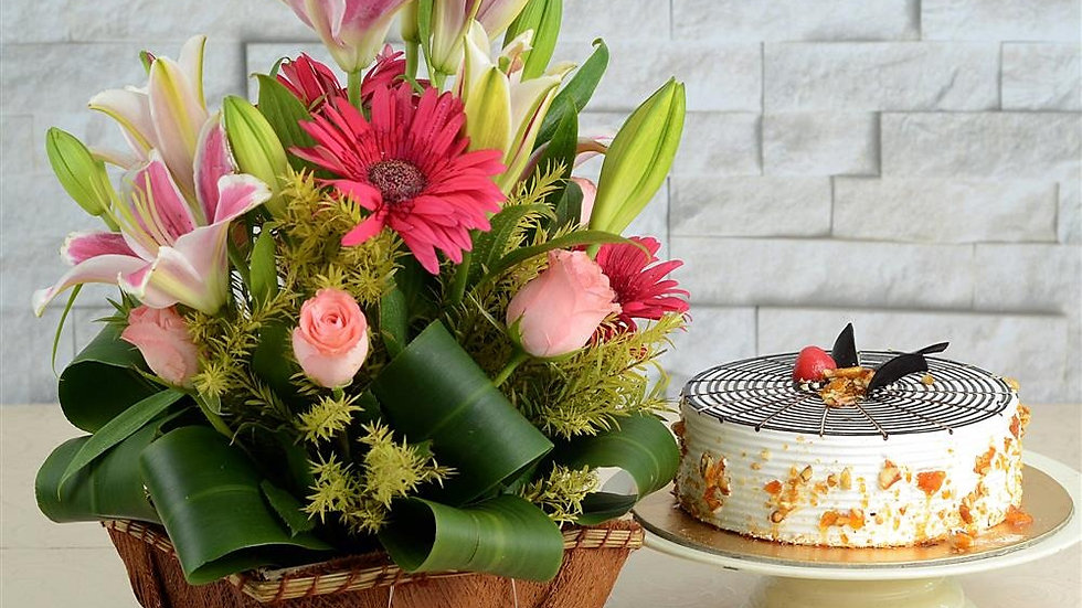 Mixed Flower with cake