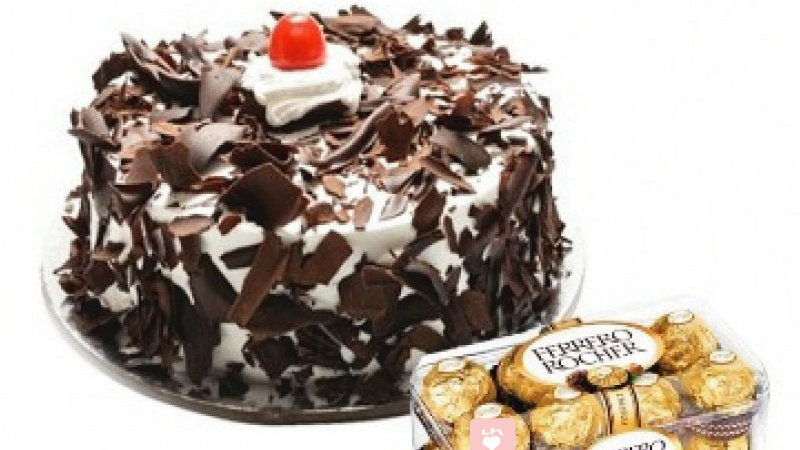 cake and Ferrero chocolate