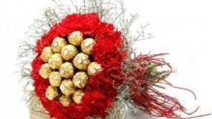 Red Carnations Bouquet With 16 Ferrero