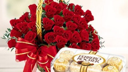 24 Red roses in a Basket and 16 Ferrero Rocher in a box