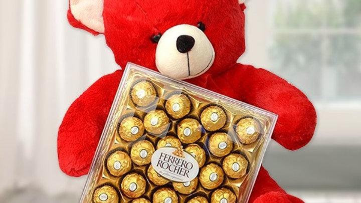 Teddy Bear with 24 pcs of Ferrero Rocher in a box