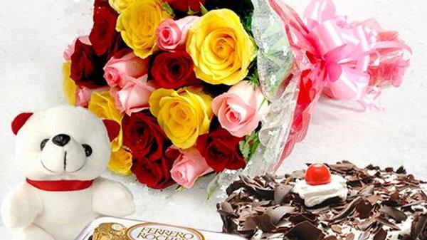 Roses, Teddy Bear, Chocolates And Chocolate Cake