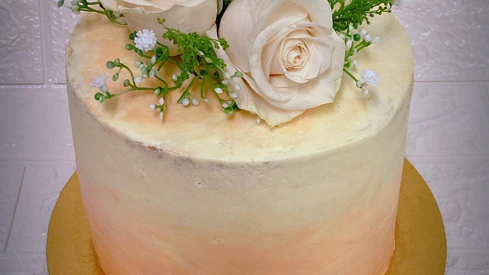 Fresh flowers buttercream cake