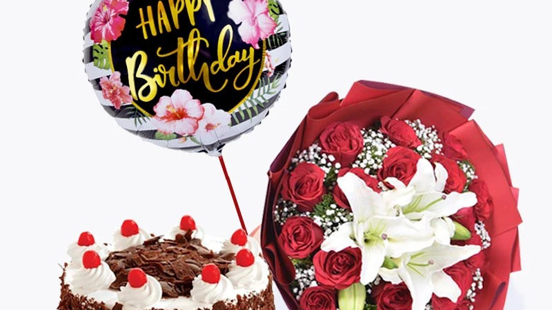 12 Red roses ,2 stem white lilies in a Bouquet, Happy Birthday Balloon , cake