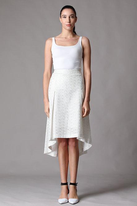 Box Pleated Asymmetrical Skirt