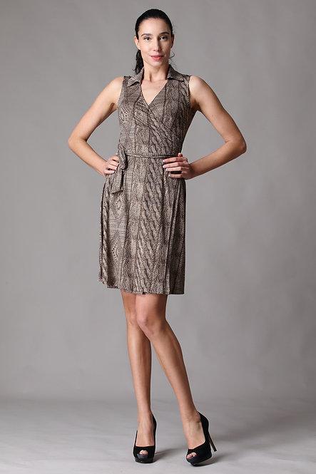 Veronica Sleeveless Collar Wrap Dress