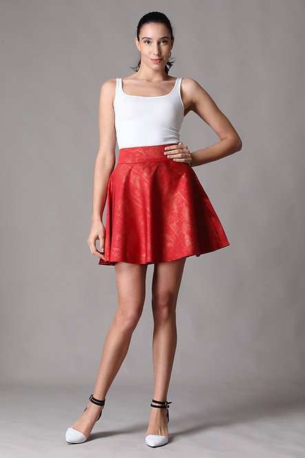 Gold Splash Red Skirt