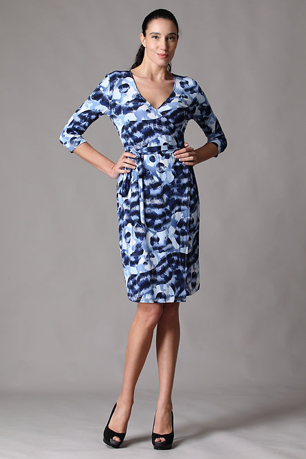Cameo Blue Quarter Sleeve Wrap Dress