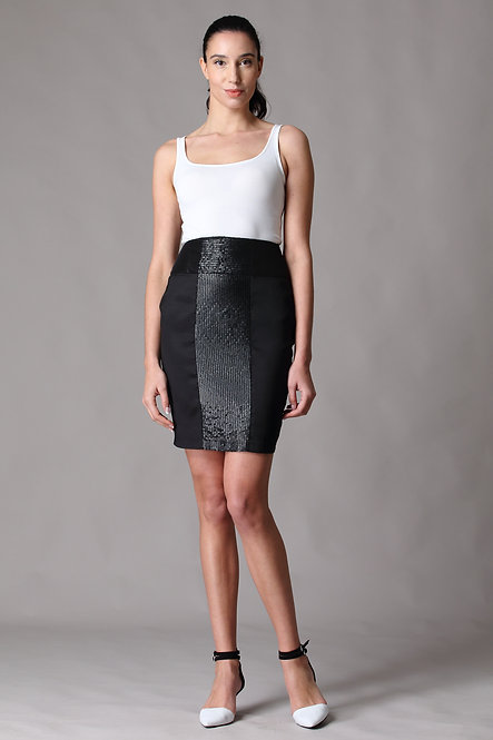 Laser Cut Leather Embrodiery Pencil Skirt