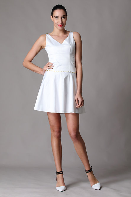 Little White Dress with Gold Metal Studs
