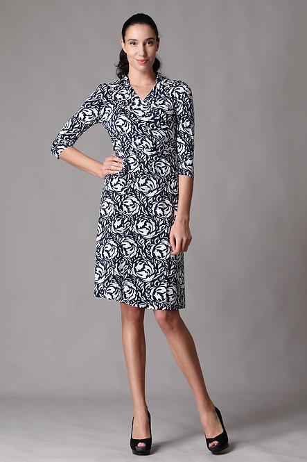 Gina Quarter Sleeve *Collar Wrap Dress