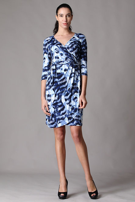 Cameo Blue Quarter Sleeve *Drape Wrap Dress