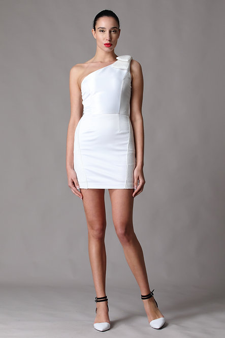 Astro One Shoulder Mesh Bow Dress