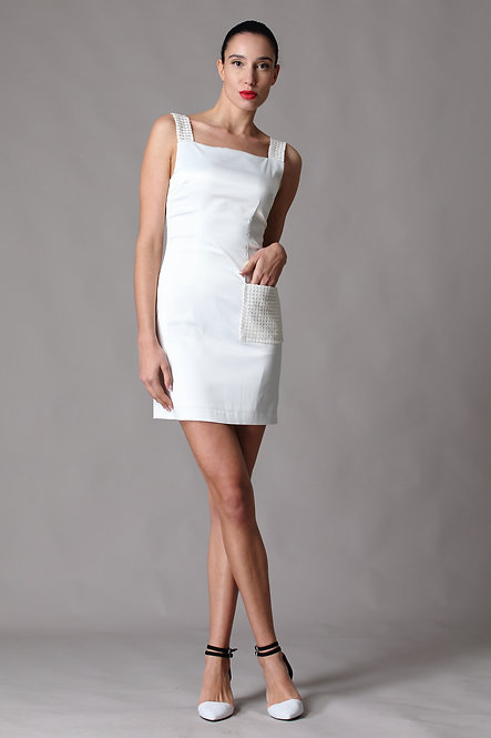Astro Laser Cut PVC Leather Embroidery Dress