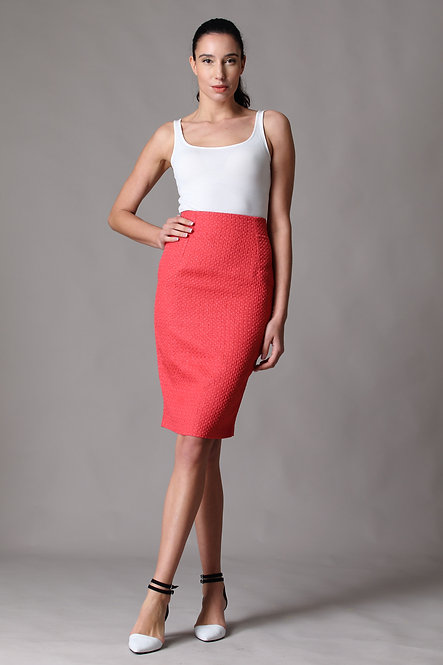 Salmon Pink Pencil Skirt