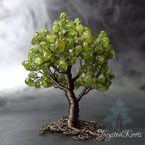 Peridot gemstone wire tree sculpture by Twysted Roots