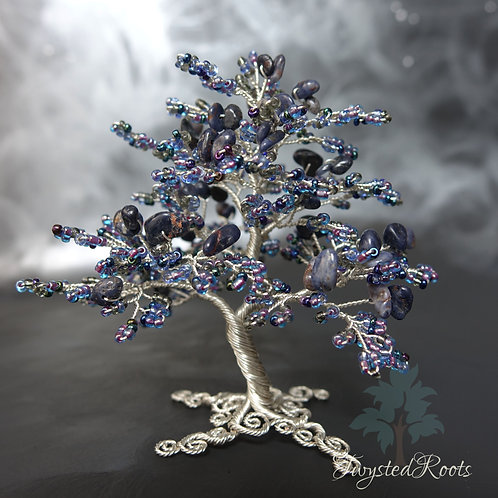 Front view sapphire and blue bead and silver wire tree sculpture by Twysted Roots