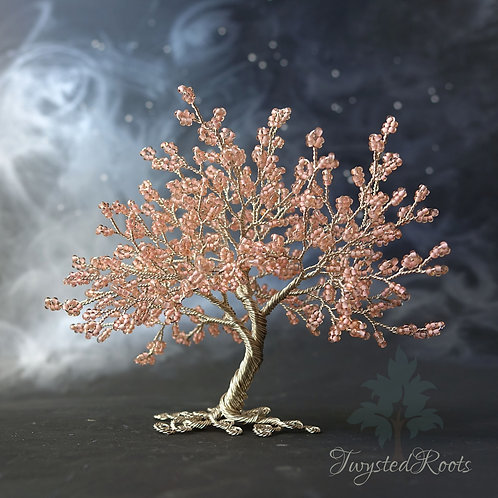 Peachy pink bead and antique silver wire tree sculpture by Twysted Roots