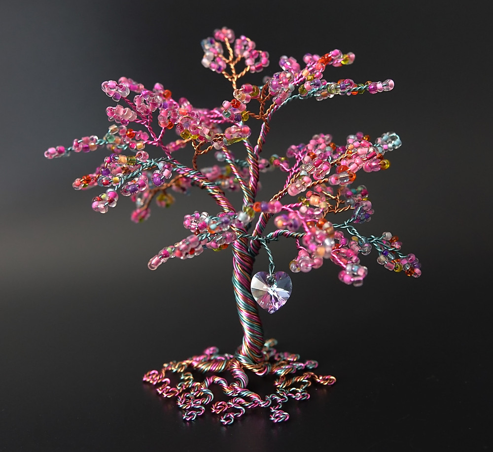 Pink multi coloured wire tree of life