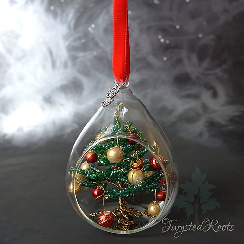 Green, red and gold bead and wire Christmas tree in a glass bauble by Twysted Roots