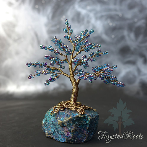 Blue bead and antique bronze wire tree sculpture by Twysted Roots