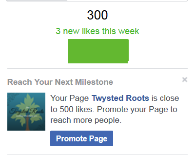 Facebook message - your page Twysted roots is close to 500 likes