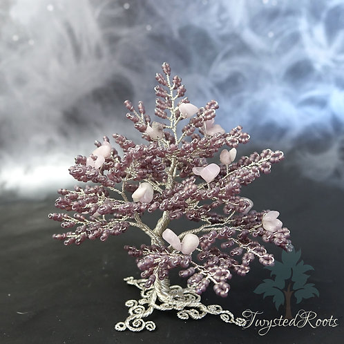 Kunzite and frosted purple bead and silver wire tree sculpture