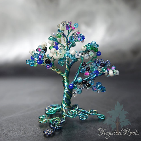 Ocean View - miniature blue bead and wire tree sculpture