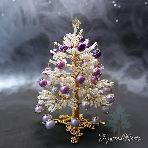 White, gold and purple bead and wire Christmas tree with a Swarovski star on top