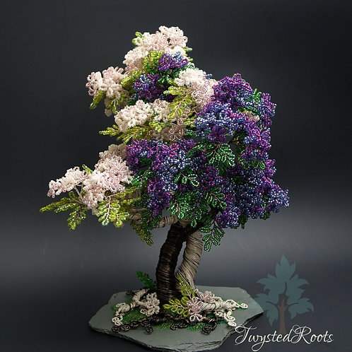 Front view intertwined bead and wire tree sculpture by Twysted Roots