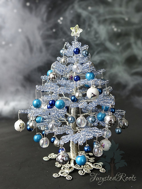 Light blue bead and wire Christmas tree by Twysted Roots